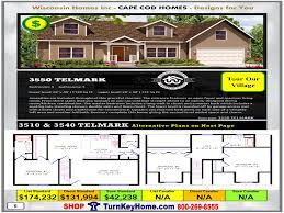3550 telmark e1 wisconsin homes inc modular cape cod home plan price
