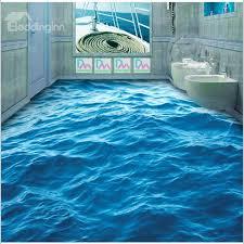 3d flooring 3d blue sea wave pattern pvc non slip waterproof eco friendly self