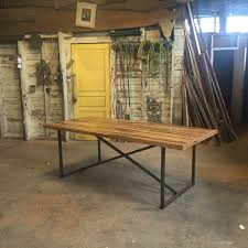Reclaimed Wood And Iron Dining Table The Bruno Table Industrial Modern Farmhouse Style Table Made From