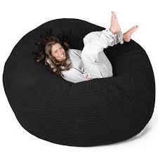 lounge pug mega mammoth beanbag black cord massive xxl size