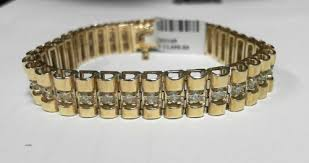 rolex bracelet diamonds images 3 90ct diamond bracelet rolex style for men 14k yellow gold jpg