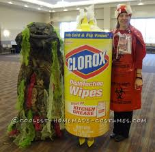 disinfectant wipe germ and biohazard waste group costume