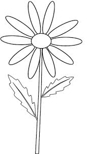 yellow daisy on stem outline clip art sketch to colour lge 15 cm