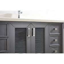 inch pepper gray finish cottage bathroom vanity cabinet with mirror