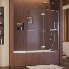 dreamline aqua ultra 48 in x 58 in semi framed pivot tub shower semi framed pivot tub shower door in chrome with handle shdr 3448580 01 the home depot