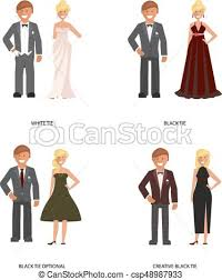 vectors of tie dress code black and white tie dress code man