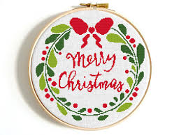 christmas cross stitch pattern merry christmas wreath counted