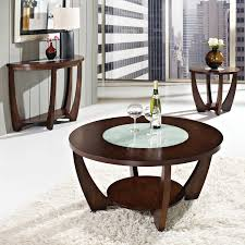 rafael round coffee table crackled glass dark cherry wood dcg