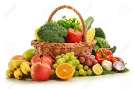 fruit and vegetable basket composition with vegetables and fruits in wicker basket isolated