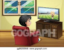 clip art vector a young boy watching tv at the living room