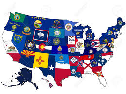 map usa oregon map of usa with state flags stock photo picture and royalty free