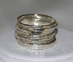 mothers rings stackable set of 9 handmade hammered sterling silver stackable rings