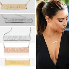 gold name bar necklace customize any name gold bar necklace personalized name plate