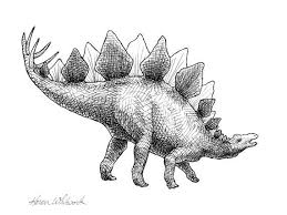 dinosaur drawing spike the stegosaurus by karen artwork archive