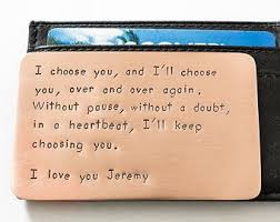 anniversary gifts for husband wallet insert card copper sted anniversary gift husband