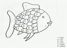 the rainbow fish printables here come girls colour by numbers go