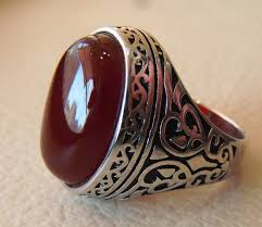 stone rings style images Aqeeq natural liver agate carnelian semi precious stone oval jpg