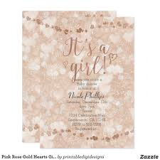 pink rose gold hearts baby shower invitations the best baby