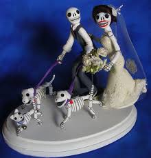 day of the dead wedding cake topper skeleton groom on skat flickr