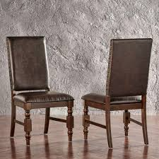 Brown Leather Dining Chairs With Nailheads Simpli Home Joseph Taupe Pu Faux Leather Dining Chair Set Of 2