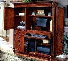 Computer Armoire With Pocket Doors Mirror Armoire Wardrobe Home Office Desks Solid Wood Computer Desk