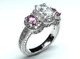 rings pink stones images Engagement ring platinum three stone oval diamond vintage jpg