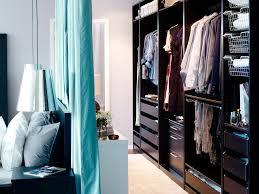 mesmerizing long and narrow open wardrobe with wooden furniture in