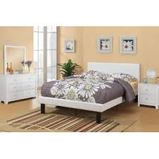 poundex cream faux leather padded full size bed frame with