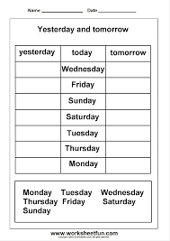 days of the week yesterday and tomorrow printable worksheets