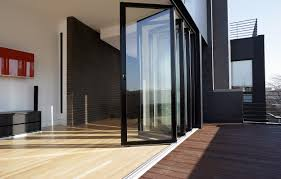 Patio Bi Folding Doors by Black Stainless Steel Bi Fold Sliding Door With 24 Glass Panel And