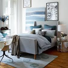 upholstered sleigh bed linen weave west elm