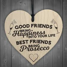 friendship heart best friends bring prosecco wooden hanging heart plaque