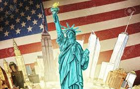 American Flag Backdrop Statue Of Liberty With Manhattan And American Flag Backdrop Stock