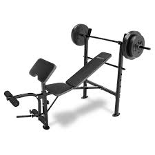 Marcy Bench Press Set Competitor Weight Bench With 80 Lb Weight Set Hayneedle