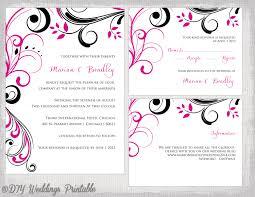 wedding invitation template set begonia pink u0026 black