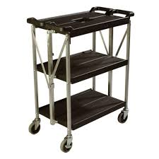 Folding Kitchen Cart by Carlisle 350 Lb Black Small Fold U0027n Go Heavy Duty 3 Tier