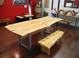 Natural Slab Dining Table Hand Made Natural Edge Salvaged Maple Slab Dining Table With