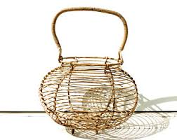 Shabby Chic Wire Baskets by Wire Egg Basket Etsy