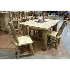 rustic log dining room tables aspen log dining table with 4 side chairs
