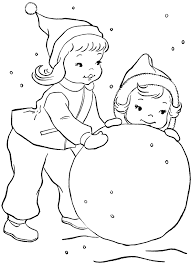 children playing snow coloring pages coloring pages