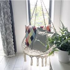 hanging hammock cotton woven wooden bar swing patio chair