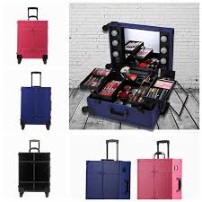 rolling makeup case with lighted mirror rolling studio makeup artist cosmetic case with led light mirror