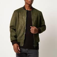 river island khaki faux suede er jacket in green for men lyst