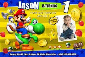 super mario bros party birthday photo invitations printable