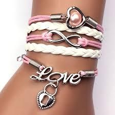 heart leather bracelet images Gelang vintage love heart leather bracelet bangle women q5 jpg