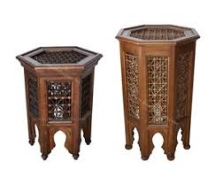 wooden moucharabieh side table from badia design inc