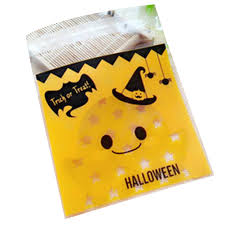 100pcs diy self adhesive pumpkin bat halloween party cookies bag
