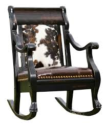 Western Furniture Cowhide And Leather Rocker Rusticartistry Com Rocking Chair