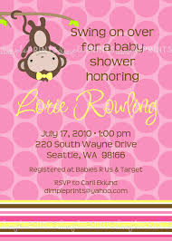 monkey invitations baby shower monkey printable birthday or shower invitation dimple prints shop