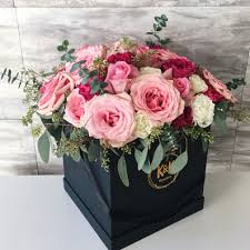 flowers in a box 22 pink square hat box arrangement